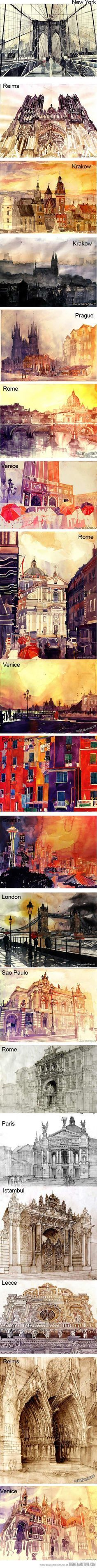 Algún día! Watercolour Painting, Watercolor Landscape, Watercolor Architecture, Painting & Drawing, Croquis Architecture, Architecture Drawing Art, Guache, Art Aquarelle, Dessin D Observation