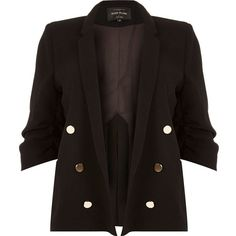 River Island Plus black buttoned blazer ($69) ❤ liked on Polyvore featuring outerwear, jackets, blazers, river island, woven jacket, tailored blazer, ruched sleeve blazer and plus size jackets
