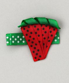 Take a look at this Red Polka Dot Watermelon Clip by Bubbly Bows on #zulily today!