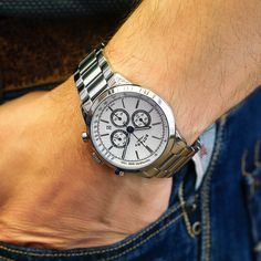 A perfect balance between form and function, the stainless steel Chronograph timepiece delivers a sophisticated edge to a sporting style. Sport Watches, Rotary, Chronograph, Omega Watch, Stainless Steel, Sports, Silver, Accessories, Style