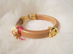 Leather bracelet made of thick natural leather by twolittlefairies