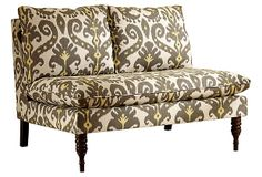 Bacall Armless Settee, Taupe/Yellow on OneKingsLane.com       $599 or Taupe rather than gray