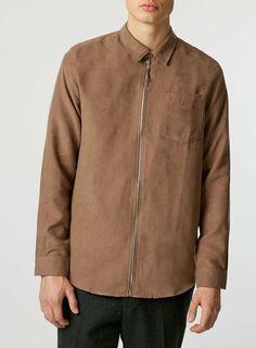 Tan Faux Suede Zip Through Long Sleeve Casual Shirt Shirt Jacket, Bomber Jacket, Trending Now, Casual Shirts, Zip, Long Sleeve, Jackets, Clothes, Collection