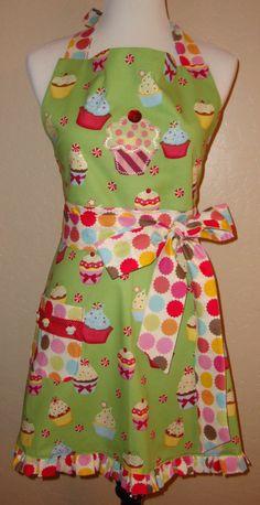 Retro Vintage Inspired Cupcake Full Apron