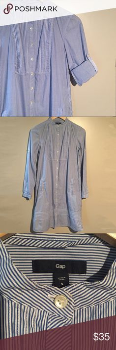 Gap Striped Tab Collar Bibbed Shirt Dress Gap striped tab collar bibbed shirt dress in blue and white. Roll tab sleeves and pockets! In excellent used condition. GAP Dresses