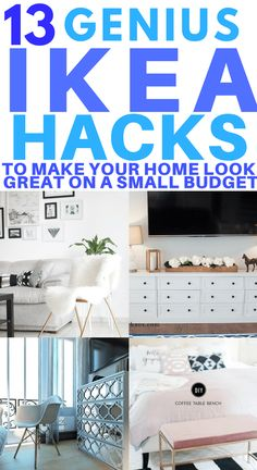 13  Amazing IKEA Hacks to Make Your Home Look stunning on a small budget. Transform your bedroom, living room or kitchen with these clever and simple IKEA hacks. Hacks for dresser, bookshelves and storage closet. These hacks also include tips for your mudroom, entertainment centre and bathroom. #ikeahacks #ikeakitchen #ikeahacks #diyikeahack #ikeabedroom #diyhomedecor