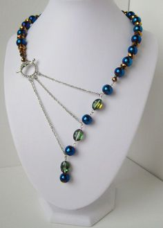 Peacock Blue , Green and Gold Adrienne Adelle Signature Necklace.
