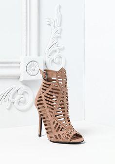 Taupe Laser Cut Ankle Suedette Heels - Heartbreaker - Trends