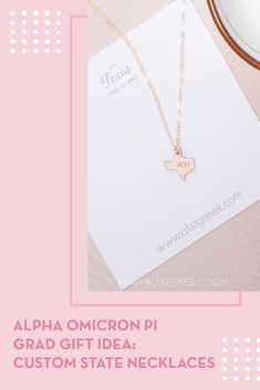 Spoil your Alpha Omicron Pi Grad with a custom sorority state necklace! Alpha Omicron Pi Grad Gift | AOII Sorority State Necklace | College Graduation Gift Idea | Grad Gift for Her | Grad Gift for Girlfriend | Grad Gift for Daughter | Grad Gifts for Best Friends | Personalized State Necklace | Sorority Graduation Necklace #HappyGraduation #SororityGrad Sorority Graduation, College Sorority, Graduation Necklace, Developing Leadership Skills, Bid Day Themes, Alpha Omicron Pi, State Necklace, College Graduation Gifts, Best Friend Gifts