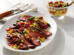 Fresh Corn Salad with Asparagus, Red Peppers and Grilled Flank Steak #sweetsurprisesweeps