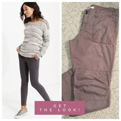 """LOFT Moto Ankle Pants This pair of Loft pants has such cool moto details - slim fit, seamed legs, back button pockets and double button closure. 100% cotton with a 30"""" inseam. Fabric has a unique herringbone pattern (see picture #4). Color is gray with almost a purplish undertone. Please note that the cover shot is for styling purposes only; pants for sale are in pic 2, 3, 4. In good used condition with no holes, stains or tears. Worn a handful of times. Please ask questions before purchase…"""