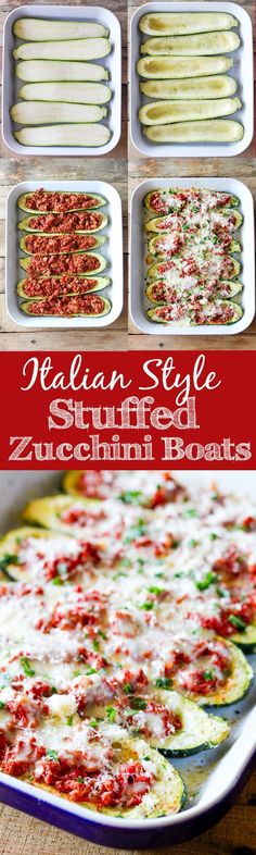 Italian Stuffed Zucchini Boats - roasted zucchini boats stuffed with lean ground turkey, homemade tomato sauce and topped with melty mozzarella cheese.