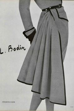1950 Jacques Fath: a length of fabric is wrapped/draped around and tucked through a loop. It turns up on a lot of designs in the sometimes in a contrasting fabric. Moda Fashion, 1950s Fashion, Vintage Fashion, Womens Fashion, Trendy Fashion, Vintage Dresses, Vintage Outfits, Vintage Clothing, Jacques Fath