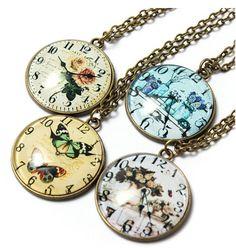 Vintage Time Gem Pocket Watch Pattern Ellipse Alloy Pendant Necklace 4 colours available Unisex Fashion, New Fashion, Vintage Fashion, Pocket Watch, Unique Gifts, Gems, Pendant Necklace, Watches, Chain
