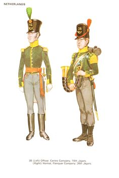 Belgium flank companies:  Officer of the 16th Regiment and musician of the 36th Regiment.
