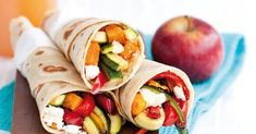 What do you get when you roll grilled peppers, zucchini and feta cheese inside a flour tortilla? Our Vegetable and Feta Cheese Wraps - a fun new way to enjoy lunch on-the-go. Kraft Recipes, Manicotti Recipe, Stuffed Manicotti, Feta Cheese Nutrition, Strawberry Nutrition Facts, Cheese Wrap, Precision Nutrition, Nutrition Tracker, Grilled Zucchini