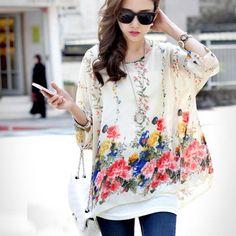 Encontrar Más Camisetas Información acerca de 2015 marca populares mujeres Batwing camisa de gasa manga de la flor de bohemia blusas de gran tamaño blusa camisa Tonsee, alta calidad vestido de blusa, China blusa blanca Proveedores, barato camisa de los hombres de Shenzhen Sunshine Wholesale Co.,Ltd en Aliexpress.com