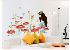 Wall Decor - OneHouse Colorful Flowers of Sunshine Life Wall Sticker -