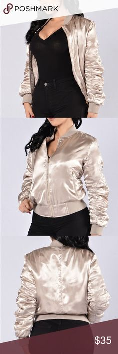 |FASHIONNOVA| Champagne bomber jacket Only been worn once and is in great condition. Its a little puffy and runs large. Selling it as I have too many clothes!  Earliest ship date: 04/06/2018 Fashion Nova Jackets & Coats