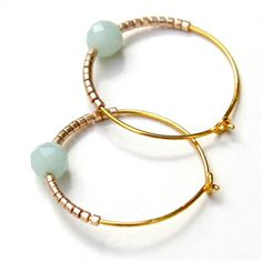 Amazonite and Petite Bead Hoops ~ Gold