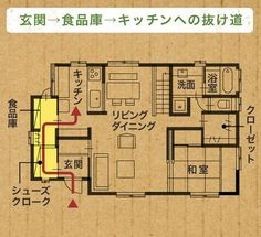 ウォークスルー収納 Layouts Casa, House Layouts, Japanese House, My Dream Home, Building A House, House Plans, Life Hacks, Sweet Home, Floor Plans