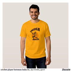 cricket player batsman India retro T Shirt. Cricket World Cup men's t-shirt with an illustration of a cricket player batsman batting with bat done in retro style with word India. #cricket #cricketplayer #CricketWorldCup #retroillustration #retro #illustration #artwork #clipart