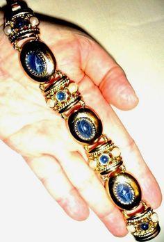 BIG Joan Rivers Classic Etruscan Bracelet Lapis Pearl Gold Fill MOTHERS DAY GIFT #JoanRivers #VintageHauteCoutureRunwayDesignerEtruscan