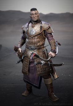 m Ranger Med Armor Longbow Sword Traveler ArtStation Mongolian Warrior by Yumi Batgerel lg Larp, Medieval Armor, Medieval Fantasy, Character Portraits, Character Art, Chinese Armor, Hobbies For Men, Leather Armor, Fantasy Armor