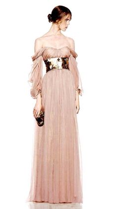 McQ by Alexander McQueen dress peach fantasy queen princess pink soft tulle designer couture