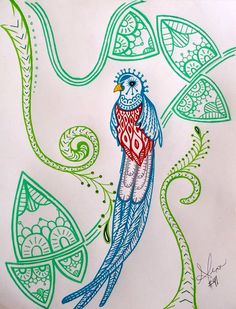 Image result for zentangle quetzal