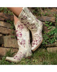 Corral Women's Bone/Metallic Wine Floral Cross Embroidery Boot - A2631