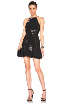 Image 1 of David Koma Flower Embroidery A Line Dress in Black & Blue