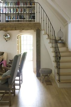 Modern Country Style: Jill Brinson's Modern Country Interior: House Tour Click through for details. Home Renovation, Balustrades, Outside Seating, Modern Country Style, Country Interior, French Country Decorating, Stairways, My Dream Home, Great Rooms