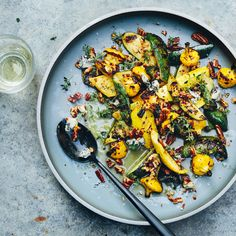 Grilled Summer Squash with Blue Cheese and Pecans | #Food #vivianhoward #achefslife
