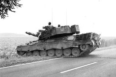 """German main battle tank Leopard 1A1A2 during """"Free Lion"""" excercises, 1988."""