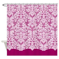 lace pattern - white magenta Shower Curtain on CafePress.com