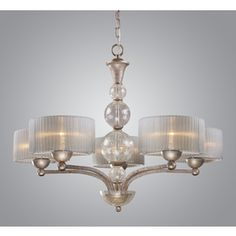 Westmore Lighting D'orsay 32-In 5-Light Antique Silver Shaded Chandeli