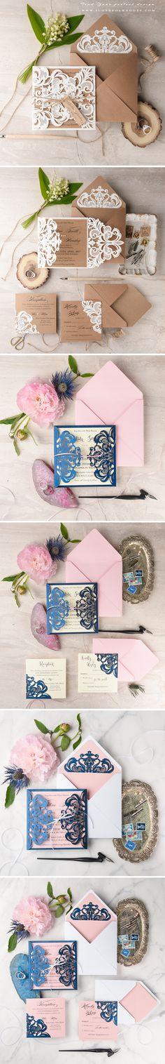 #summerweddingideas Wedding Invitations with Laser Cut Lace #weddinginvitations