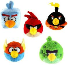 """Angry Birds - Birthday, Party & Toys - Angry Birds Space Plush 2"""" Fuzzy Feather Toppers Flinger Set of 5 Officially Licensed By Rovio; PREVIEW: http://audrey6.x30.us/reviews-viewer/index.htm?url=http://www.amazon.com/dp/B00ADQJD04?tag=angry_birds_plush_toys_games_store_sale-20"""