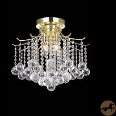 Christopher Knight Home Crystal 3-light Gold Chandelier Flush Mount - Overstock™ Shopping - Great Deals on Christopher Knight Home Chandeliers & Pendants