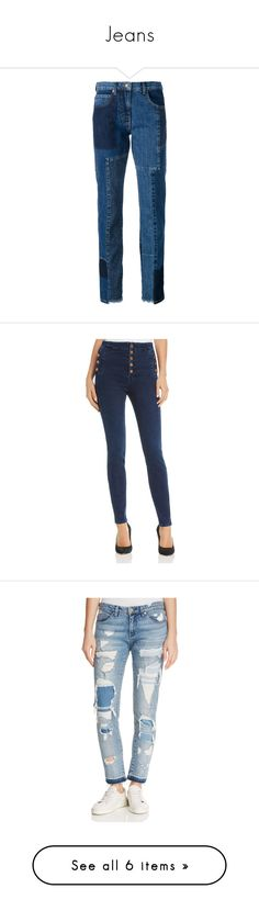 """""""Jeans"""" by tawneerose ❤ liked on Polyvore featuring jeans, pants, bottoms, denim, trousers, blue, mcq by alexander mcqueen, straight leg jeans, blue jeans and patchwork jeans"""
