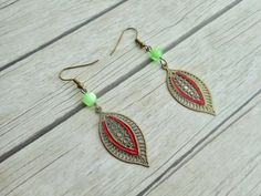 Leafs charm pendants earrings green glass beads antique bronze ladies jewelery / handmade jewelry trending item unique gift for her - Bohemian style ladies fashion jewelry by Aparticle. Handmade earrings for women with antique bron -