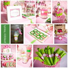 pink and green- possible baby shower theme