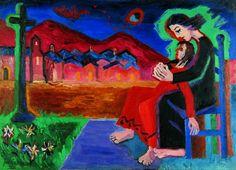 Autor: José Guerrero Título: La aparición, 1947  Una obra escalofriante que transmite desasosiego, la he elegido por la tensión que la obra mantiene.