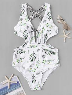 Leaf & Leopard Print Criss Cross One Piece SwimFor Women-romwe - AzZKey Summer Bathing Suits, Bathing Suits One Piece, Cute Bathing Suits, One Piece Swimwear, Swimsuit Pattern, Blue Swimsuit, Summer Outfits, Cute Outfits, Beach Attire