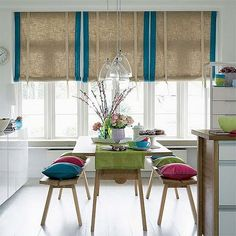 for curtains above kitchen window--like the ribbon tie holding it up & the burlap with the fabric edging--may try with white or cream edging
