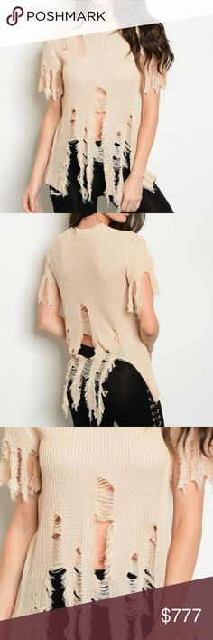 💋JUST ARRIVED💋TAN KNIT DISTRESSED TOP Brand new Boutique Item Price Is Firm Bundle To Save  This sassy short sleeve mock neck distressed knit top is all the rage this season. Pair with our lace up detail black leggings and denim jacket for a complete look!!   Material 80%viscose 20% nylon  Distressed, frayed, shredded MODA ME COUTURE Tops