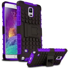 SAMSUNG GALAXY NOTE 4 CASE, TPU PRIME DUAL LAYER COVER WITH KICKSTAND (PURPLE) | #cellphonegadgets #mobileaccessories www.kuteckusa.com