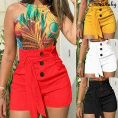 Laamei 2019 sommer frauen shorts sexy damen hohe taille casual buttom b - mompreg Women Shorts - mid Hot Shorts, Skinny Shorts, Belted Shorts, Hot Pants, High Waisted Shorts, Summer Shorts, Loose Shorts, Casual Shorts, Women's Pants