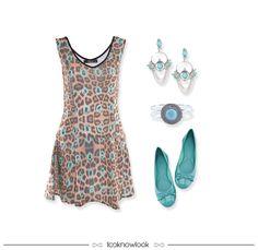 Vestido de oncinha + Acessórios turquesas + Sapatilha turquesa #look #outfit #moda #looknowlook